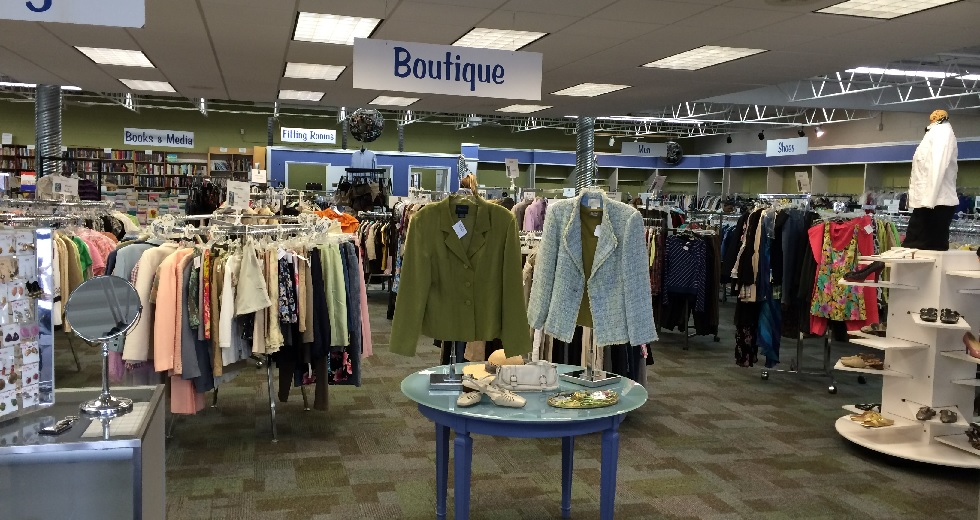 Upscale thrift shop interior