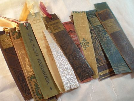 Upcycling at it's finest: Turn the spines of those unrepairable classics into bookmarks.