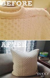 "Ever look at a sweater and think: ""Boy, that would look really good as a pillow!"". No? You will now."