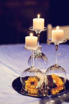 wedding candles and wine glasses